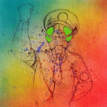 """""""El Gran Dictador"""". Acrílico, spray, lápiz y marcador sobre madera imprimada. 27x27 cm"""