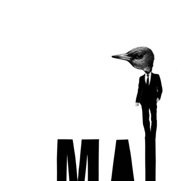 """MAL"", dibujo y collage sobre papel Canson A5"