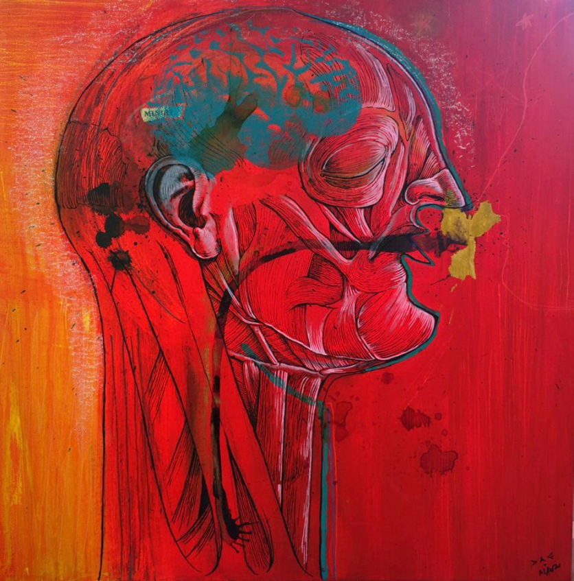 """""""Anatomy of master human"""". Acrílico, serigrafía, rotulación, carbón, POSCA sobre lienzo, 60x40 cm"""