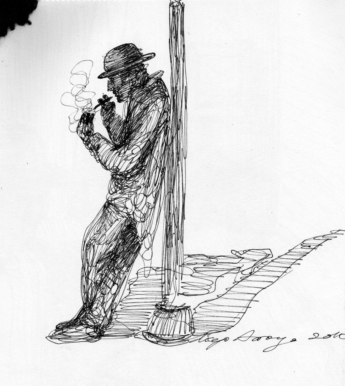 """""""Fumando"""", rotulación sobre papel A4"""