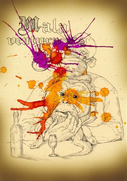 """""""El Malaventuras/The Misfortunes"""". Lápiz, rotulador de tinta, acuarela líquida y Posca sobre papel de acuarela, A4."""