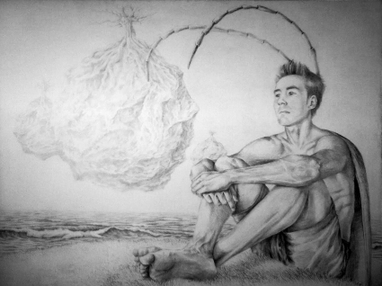 """Los hombres Cucaracha"", grafito sobre madera imprimada, 150x100 cm"