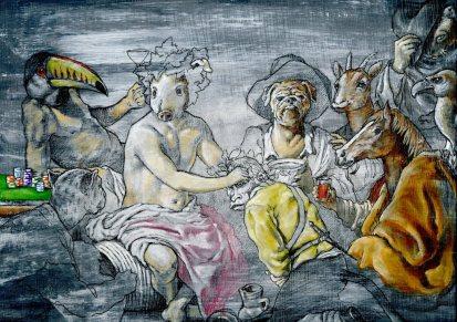 """""""Los Animarrachos"""". Acrílico, rotulación, POSCA, lápiz sobre madera imprimada, 37x25 cm"""
