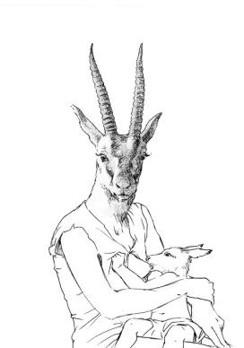 """Tía Rosa y primo Javier"", dibujo y transfer 14,5x20,5 cm"