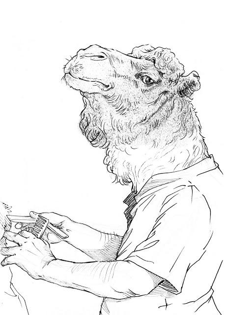 """Tío Grego"", dibujo y transfer 14,5x20,5 cm"