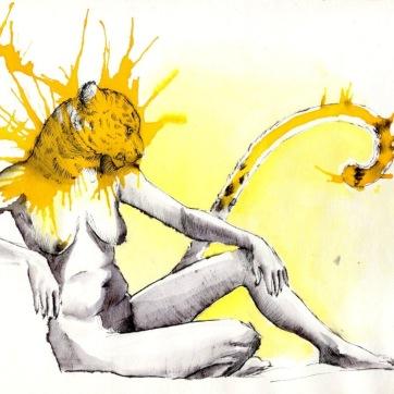 """Feline feel"". Lápiz, rotulación y acuarela. 27x22 cm"
