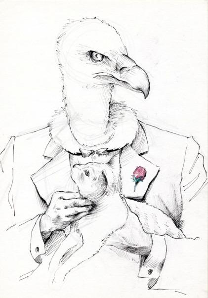 """""""Buitro Corleone"""". Lápiz, rotulación y bolígrafo de gel. 27x22 cm"""