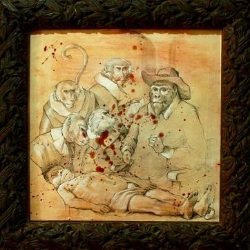 """""""La lección de monotonía"""", Lápiz, acrílico y carbón sobre madera imprimada con acrílico. 30x30cm"""