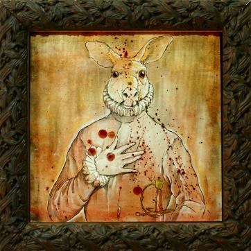 """""""Canguro con la mano en el pecho"""", Acrílico y grafito sobre madera imprimada, 30x30 cm."""