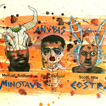 """""""Mitología"""". Serigrafía, acuarela, acrílico, posca y carbón sobre Papel Basik, 100x70 cm"""