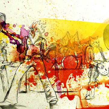 """Bremen Band"". Carbón, lápiz, comte, acrílico, spray, acuarela sobre madera imprimada, 100x70 cm"