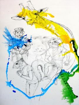 """""""Antropomorfina II"""". Acrílico, rotulador, tinta, carbón y lápiz sobre bastidor de madera imprimado, 85x145 cm"""