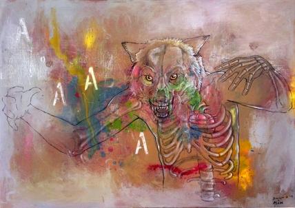 """""""Aullidos"""". Acrílico, pastel, carbón, comte, rotulación, POSCA sobre lienzo, 100x70 cm"""